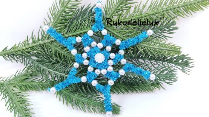 готовая снежинка из синельной проволоки
