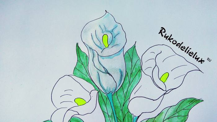 цветы и серединки цветной краской