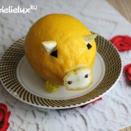 Свинка из лимона — украшение новогоднего стола